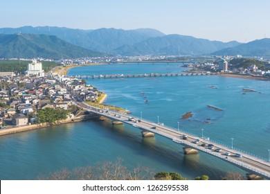 Cityscape of Karatsu city, panorama view, Saga, Kyushu, Japan