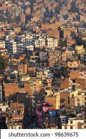 Cityscape of of Kathmandu City, Nepal. View from Swayambhunath pagoda