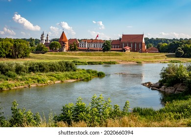 Cityscape of Kaunas with medieval gothic Kaunas Castle in Kaunas, Lithuania. View from the other side of Neris river.