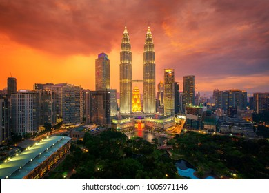 Cityscape of kuala lumpur city the center of business, The tower and garden in Big city with sunset, travel, hotel and building of Malaysia