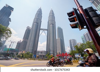 Cityscape. Kuala Lumpur, Malaysia - The Petronas Twin Towers against blue sky on May 10, 2016, The world's tallest Twin Towers.