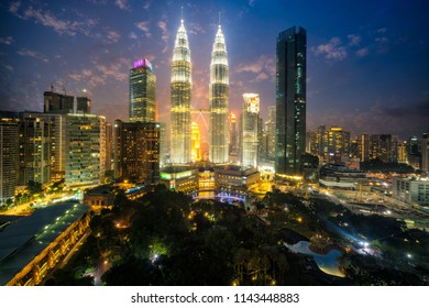 Cityscape of Kuala Lumpur Panorama at twilight. Panoramic image of skyscraper at Kuala Lumpur, Malaysia skyline at sunset.