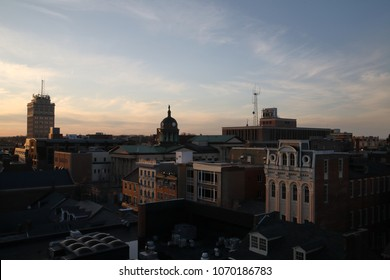 Cityscape of Lancaster, PA shot from a high vantage point