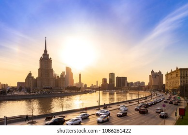 Cityscape and Landscape of downtown Moscow with Modern skyscrapers, office building and Moskva river over Sunrise sky, Moscow City, Russia