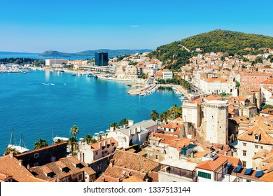 Cityscape and landscape in Old city in Split on Adriatic Coast in Dalmatia in Croatia. Diocletian Palace and Roman Town architecture at Croatian Dalmatian Bay. Europe tourism and vacation in summer.
