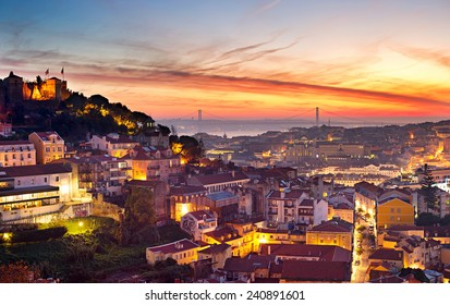 Cityscape of Lisbon in the beautiful sunset. Porugal