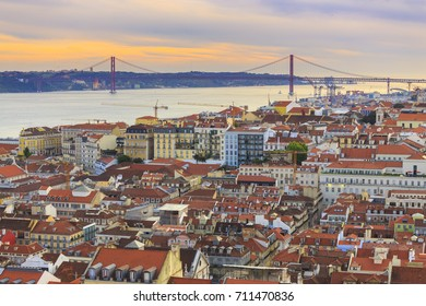 Cityscape from Lisbon to the bridge and Tagus river