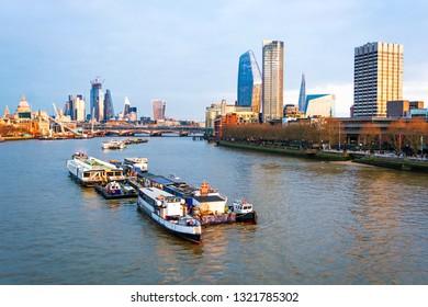 Cityscape of London, River Thames by dusk, Skyline