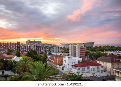 Cityscape look at Cape Town city in South Africa during sunset