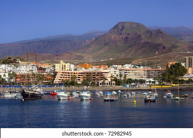 Cityscape of Los Cristianos resort town in Tenerife, Canary Islands, Spain