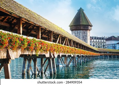 Cityscape of Lucerne with Chapel bridge, Switzerland