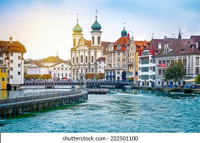 Cityscape of Lucerne in the evening, Switzerland