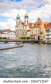 Cityscape of Lucerne and Jesuit church in Luzern, Switzerland
