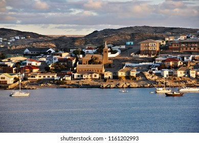 Cityscape of Luderitz at sunset. Luderitz is a harbour town in southwest Namibia.