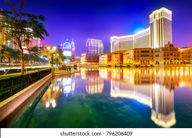 Cityscape of Macao at night. Located in Macao.