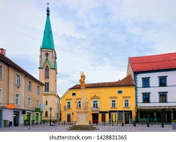 Cityscape with main square at Celje old town in Slovenia. Architecture in Slovenija. Travel