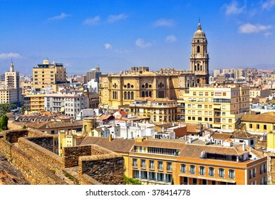 A cityscape of Malaga and Cathedral, Spain.