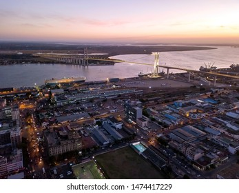 Cityscape of Maputo from above with new Golden Bridge, capital city of Mozambique, Africa