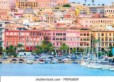 Cityscape with marina in the Mediterranian sea in Cagliari, Sardinia, Italy