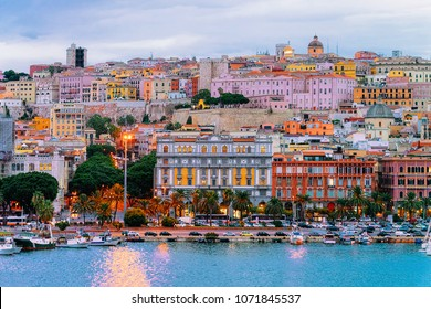 Cityscape with marina in the Mediterranian sea in the evening, Cagliari, Sardinia, Italy