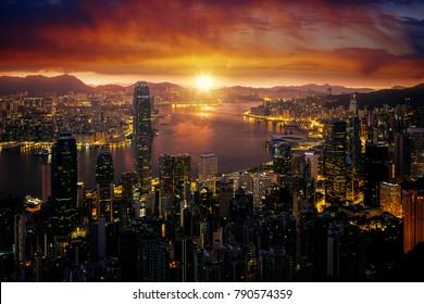 Cityscape of Marning sunrise and Hong kong city fron Victoria peak mountain, Hongkong, China