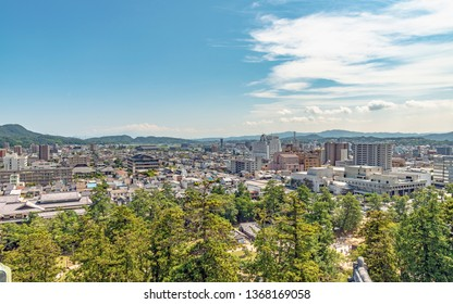 Cityscape of the Matsue city from the Matsue castle in Japan