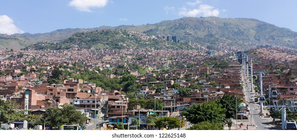 Cityscape of Medellin, Colombia. Medellin is the second-largest city in Colombia. It is in the Aburrá Valley, one of the most northerly of the Andes in South America.