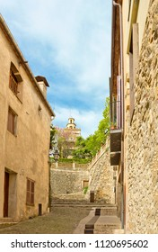 Cityscape with medieval buildings and church in Besalú, Catalonia, Spain