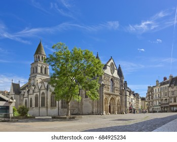 Cityscape with medieval church of Notre-Dame la Grande in Poitiers, France