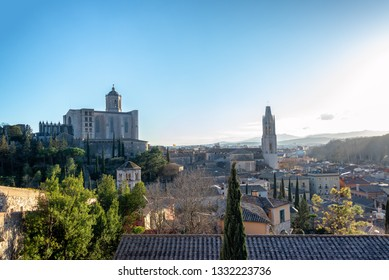 Cityscape of medieval Girona, Spain with the Saint Felix Basilica and Saint Mary's Cathedral