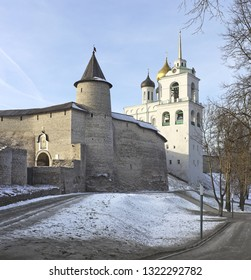 Cityscape with medieval Kremlin walls and Trinity cathedral in Pskov, Russia