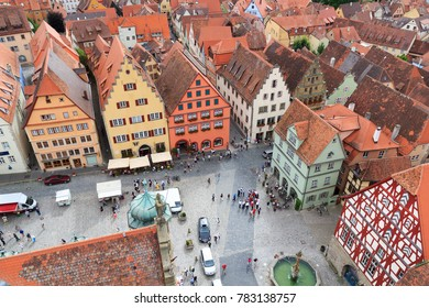 Cityscape of medieval old town Rothenburg ob der Tauber with marketplace, Germany