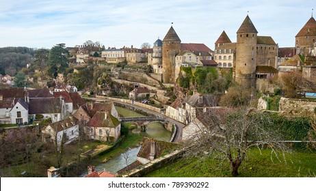 Cityscape medieval town of Semur en Auxois, Burgundy, France