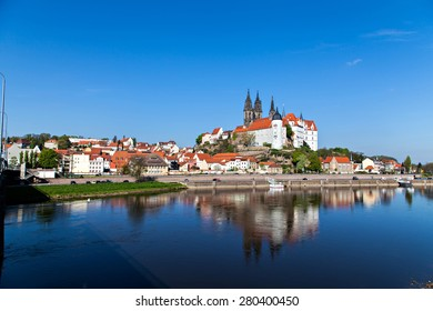 Cityscape of Meissen and Elbe embankment in Germany with the Albrechtsburg castle