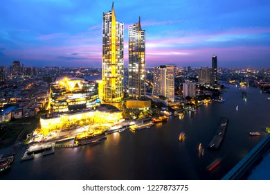 Cityscape in middle of Bangkok,Thailand Grand Opening of Iconsiam with light shows