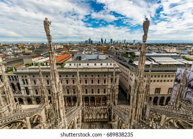 Cityscape of Milan - view from the Cathedral (Duomo di Milano) rooftop, Italy