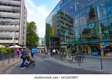Cityscape of modern buildings in Aachen, Aachen, Germany, 30.08.2018