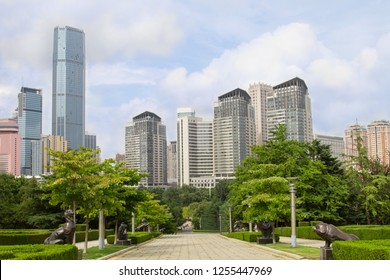 cityscape of the modern metropolis on a summer day. view of modern high-rise buildings from the city Park of the Chinese city of Dalian. Travel in China. Dalian, China - august 12, 2018