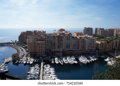 Cityscape of Monaco,view to bay, buildings and yachts