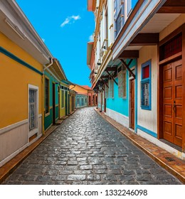 Cityscape of the most beautiful street of Guayaquil city with colorful colonial architecture and cobblestones in the Las Penas district also known as Santa Ana hill, Ecuador.