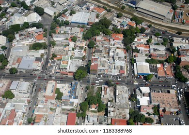 the cityscape near the Caracas Airport at the coast of Caracas in the north of Venezuela.   Venezuela, Caracas, November, 2005