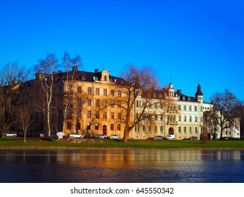 Cityscape near the river in winter season with navy blue sky background, Karlstad, Sweden