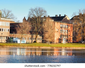 Cityscape near the river in winter season with navy blue sky background, Karlstad, Sweden at 9 Feb 2017