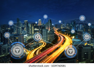Cityscape and network connection concept, wireless signal of int