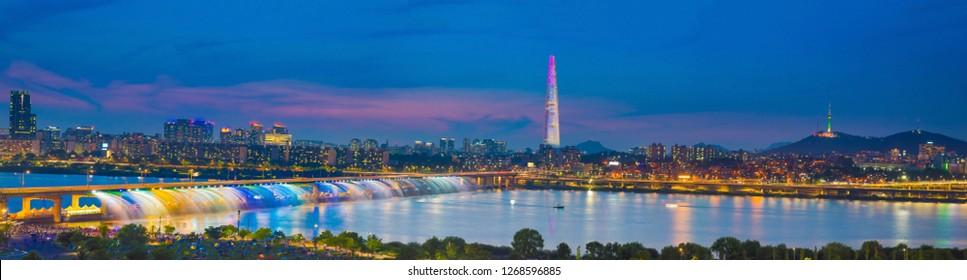 Cityscape of Night Hangang River and bridge in Seoulcity South Korea