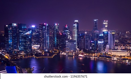 Cityscape night light view of Singapore skyline at twilight time