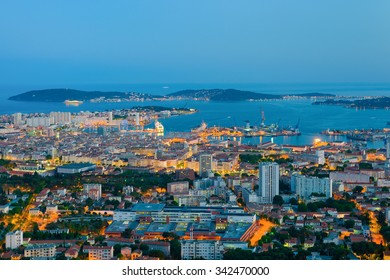 Cityscape of night Toulon at spring
