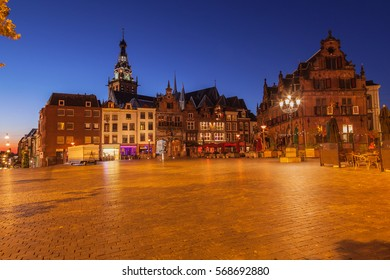 Cityscape of Nijmegen squre city center at dusk twilight, the netherlands
