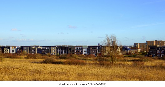 Cityscape Noorderplassen Noord,a neighborhood in the Dutch city of Almere, Flevoland, the Netherlands.