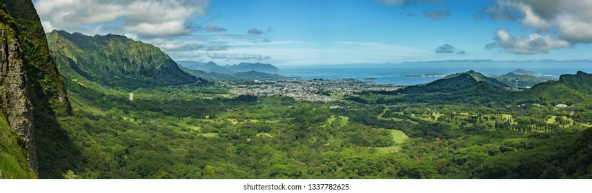 Cityscape in Oahu with mountains